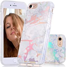 BAISRKE iPhone 8 Case, iPhone 7 Case Gorgeous Holographic Laser Style Marble Design Slim Bumper TPU Soft Rubber Silicone Cover Phone Case for iPhone 7 iPhone 8 [4.7 inch] - White