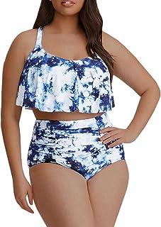 Tutorutor Womens Plus Size Swimwear Peplum Tankini Tops...