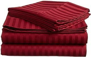 4 Pcs Stripe Sheet Set 800 Thread Count 100% Cotton Stripe Sheet Long Staple Fits Mattress 21