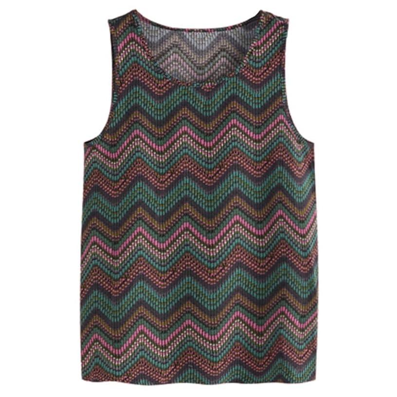 Tomppy Men's Sleeveless Tank Tops Casual Summer Colorful Stripe Shirt Beach Hawaiian Vest T-Shirt Blouse