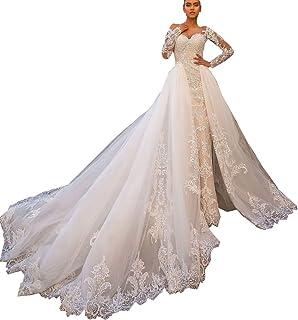 Amazon Com Detachable Train Wedding Dress