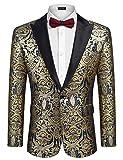 COOFANDY Mens Stylish Suit Blazer Jacket Groomsmen Groom Tuxedo Notched Lapel One Button Blazer
