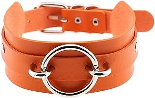 FM FM42 Multicolor Gold-Tone/Silver-Tone O Ring Wide PU Simulated Leather Choker (32 Styles)