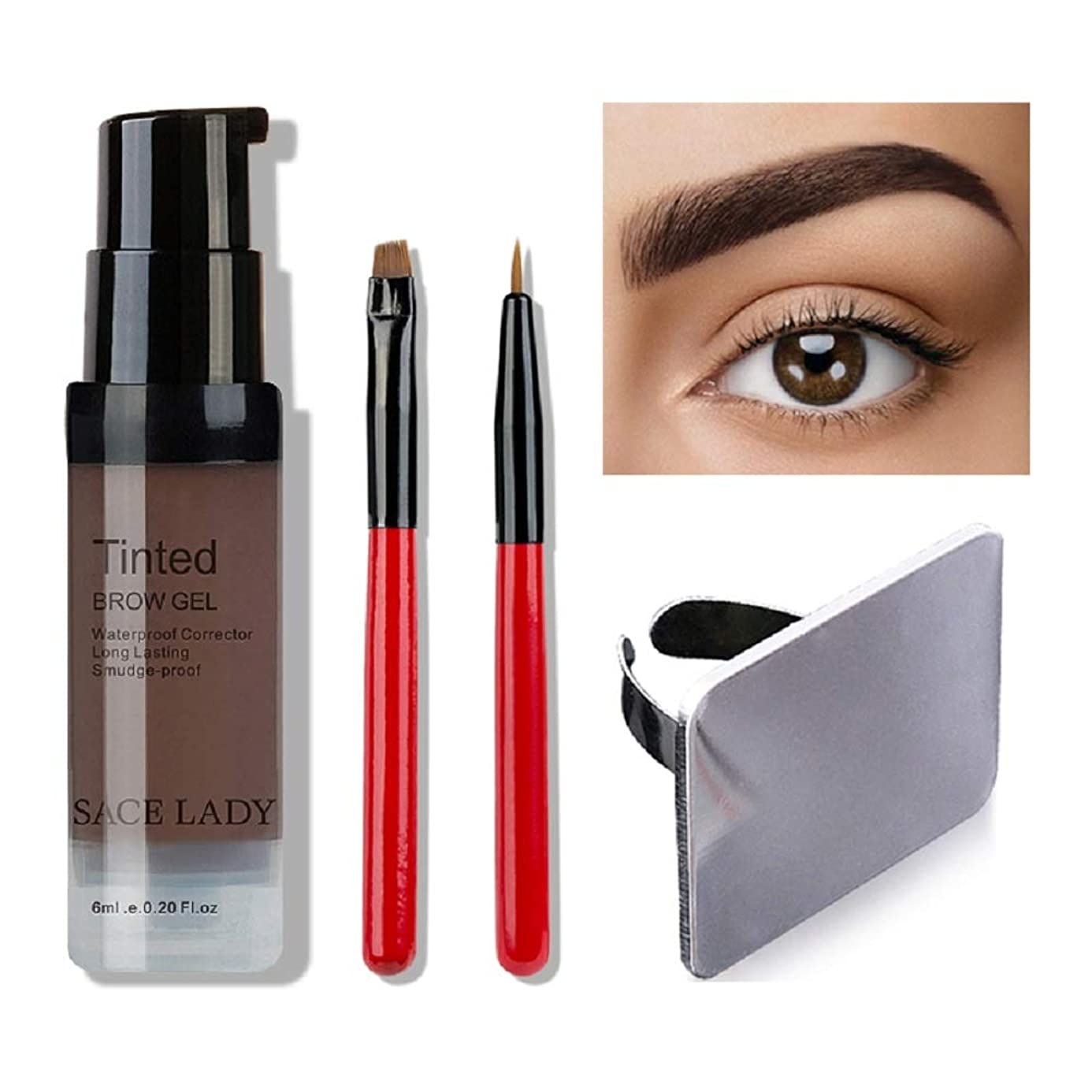 クラウン製造業ステーキWaterproof Eyebrow Shadow Henna Makeup Enhancer Tint Brush Kit Eye Brow Gel Cream Make Up Set Paint Tool Wax Cosmetic (Dark Brown) 防水眉毛シャドウヘナメイクアップエンハンサティントブラシキットアイブロジェルクリームメイクアップペイントツールワックス化粧品(ダークブラウン)