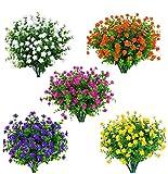 Amajoy - 15 mazzi di fiori artificiali in plastica sintetica resistente ai raggi UV, piante per interni, vasi esterni, piante da appendere, vaso da giardino, decorazione per matrimoni e cascine