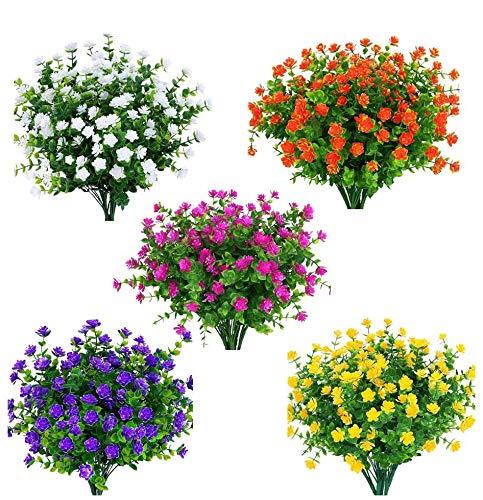 Amajoy 15 Bündel im Freien Künstliche Blumen Kunstplastik Grün UV-beständige Sträucher Pflanzen für Innenvase Außen hängende Pflanzen Topf Garten Veranda Dekor