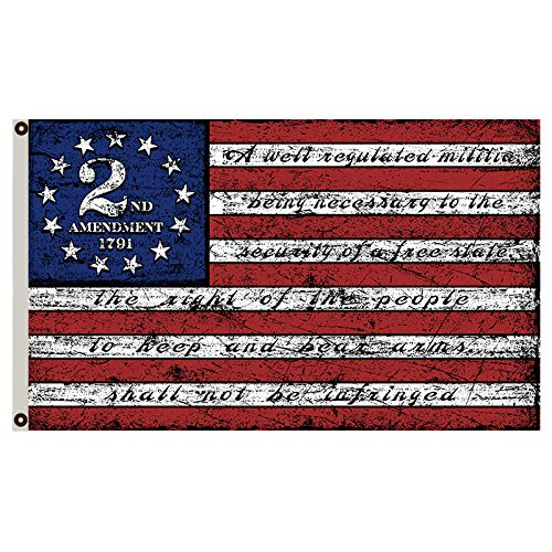 Flylong 2nd Second Amendment 1791 Vintage American Flag Banner 3x5 Feet Man Cave Decor