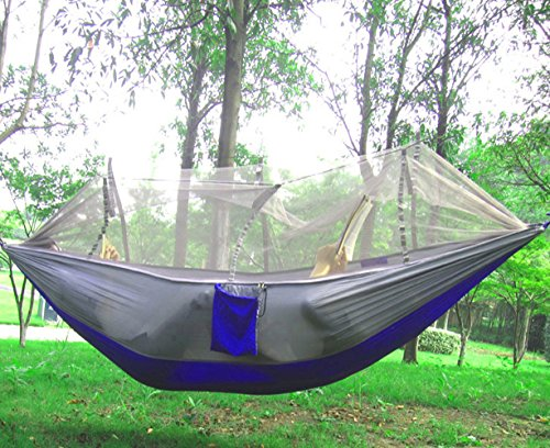 cjc Premium Quality Camping Hammock, Lightweight Parachute Fabric Travel Bed Mosquito Net Outdoor Hammock for Indoor, Camping, Hiking, Backpacking, Backyard.