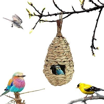 Fireboomoon Outdoor Hand Woven Hummingbird House,Small Hanging Natural Grass Woven Winter Birdhouse Nest Hut for Outside,Canary,Songbirds