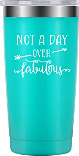 Not a Day Over Fabulous - 30th 40th 50th 60th 70th 80th Birthday, Best Friend Gifts for Women - Funny Wine Gifts Ideas for Her, BFF, Wife, Mom, Daughter, Aunt, Sister, Coworker - LEADO Wine Tumbler