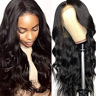 URALL Hair Brazilian body wave Lace Front wigs human hair 150% Density Unprocessed Virgin human hair wigs for black women Pre Plucked Natural Black (26inch)