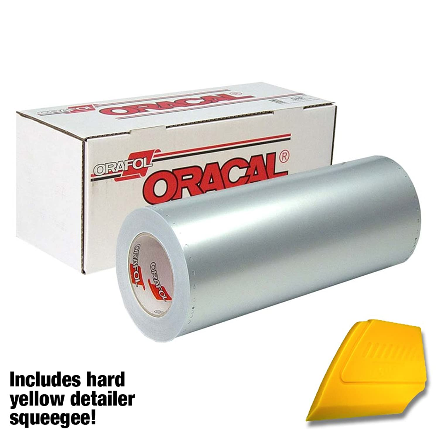 ORACAL Matte Chrome Silver Metallic Vinyl Roll for Cricut, Cameo & Silhouette Including Hard Yellow Detailer Squeegee (3ft x 12