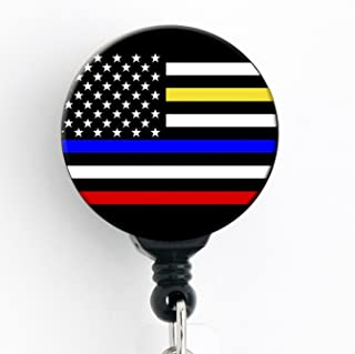 Police/Dispatcher/Firefighter/EMS American Flag Thin Blue/Yellow/Red Line Lives Matter - Retractable Badge Reel with Swivel Clip and Extra-Long 34 inch Cord - Badge Holder