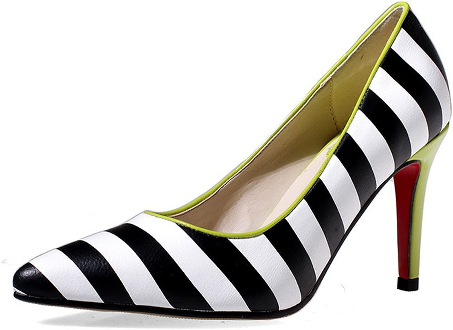 AmoonyFashion Women's pull-on High-Heels Cow Leather Assorted color Pointed Closed Toe Pumps-shoes