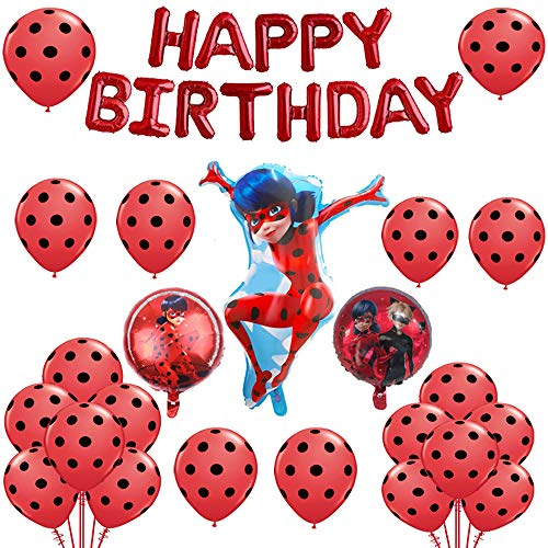 Geenber Ladybug Luftballons Set Aluminiumfolie Ballon Happy Birthday Party Dekoration Lieferungen für Marienkäfer Superheld Mädchen Kinder (24er Pack)