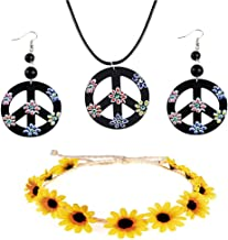 Peace Necklace Hippie Dressing Accessories Set Flower Crown Headband Peace Sign Necklace