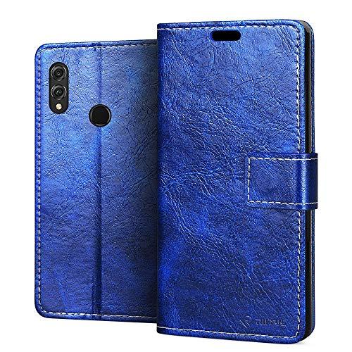 RIFFUE Handyhülle Honor 8X, Huawei Honor 8X Hülle Kunstleder + Silikon Case Retro Briefasche Leder Falten Kartenslots, Magnetverschluss, Schutzhülle für Huawei Honor8X (6,5 Zoll) - Blau