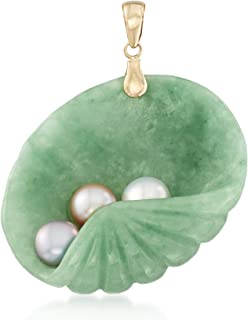 Ross-Simons Green Jade and 6-6.5mm Multicolored Cultured Pearl Shell Pendant in 14kt Yellow Gold
