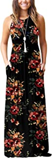 Women's Sleeveless Racerback Loose Plain Maxi Dresses Casual Long Dresses with Pockets