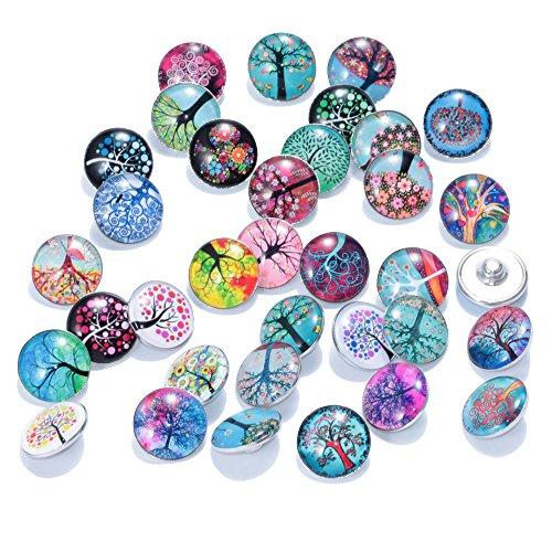 Soleebee - Botones a presión de 18 mm, cristal y aluminio,