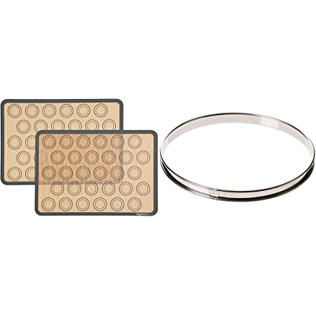 Amazon Basics Lot de 2tapis de cuisson en silicone pour macarons & DE BUYER -3091.24N -cercle a tarte inox ht 2cmbd roule ø24