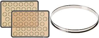 Amazon Basics Lot de 2tapis de cuisson en silicone pour macarons & DE BUYER -3091.24N -cercle a tarte inox ht 2cmbd roule...