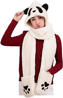 Women Girls Cute Panda Animal Winter Hats 3 in 1 Warm Plush Hoodie Cap Paw Gloves Mitten Scarf Set