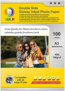 MR.R Dual Glossy Coated 160gsm Inkjet Photo Paper, A3 297mmX420mm 100 Sheets per Pack