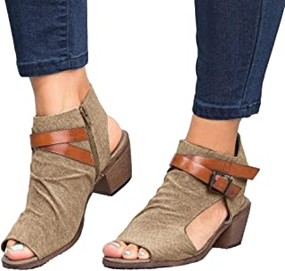 Women Sandals Clearance Sale!melupa Fashion Ladies Zipper Sandals Ankle Square Heel Breathable Peep Toe Shoes