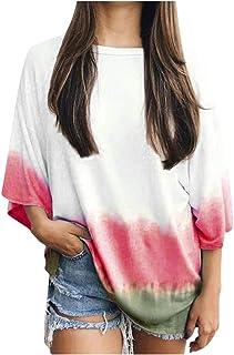 Women's Korean Shirt,Fashion Autumn Printed O-Neck Loose Casual 3/4 Bat Sleeve Dyeing Elegant T-Shirt Blouses