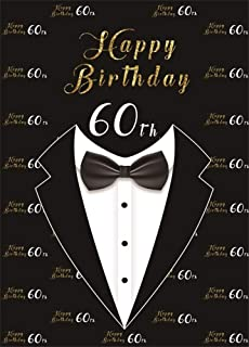 AOFOTO 6x8ft Happy 60th Birthday Backdrop for Men Bow Tie Tuxedo Black Background for Photography Grandfather Father Sixty Bday Bash 60 Year Old Party Cebelration Wallpaper Photo Studio Props Vinyl