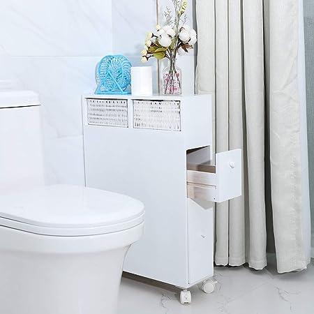 Meuble de Salle de Bain Étroit avec 2 Tiroirs et 2 Paniers Meuble Rangement WC sur Roulettes Commode sur Roulettes Pratique Gain de Place pour Cuisine Salle de Bain Garage Blanc 50 * 16 * 72,5cm
