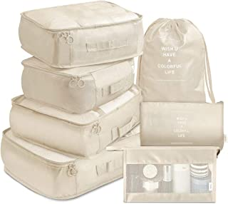 VAGREEZ Packing Cubes, 7 Pcs Travel Luggage Packing Organizers Set with Toiletry Bag (Beige)