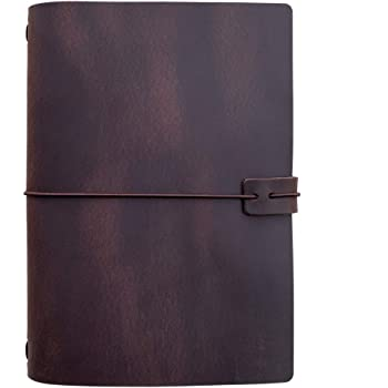 Refillable Leather Travelers Notebook -A5 Travel Journal with Lined Insert, 8.5 x 5.5 Inches, Dark Brown