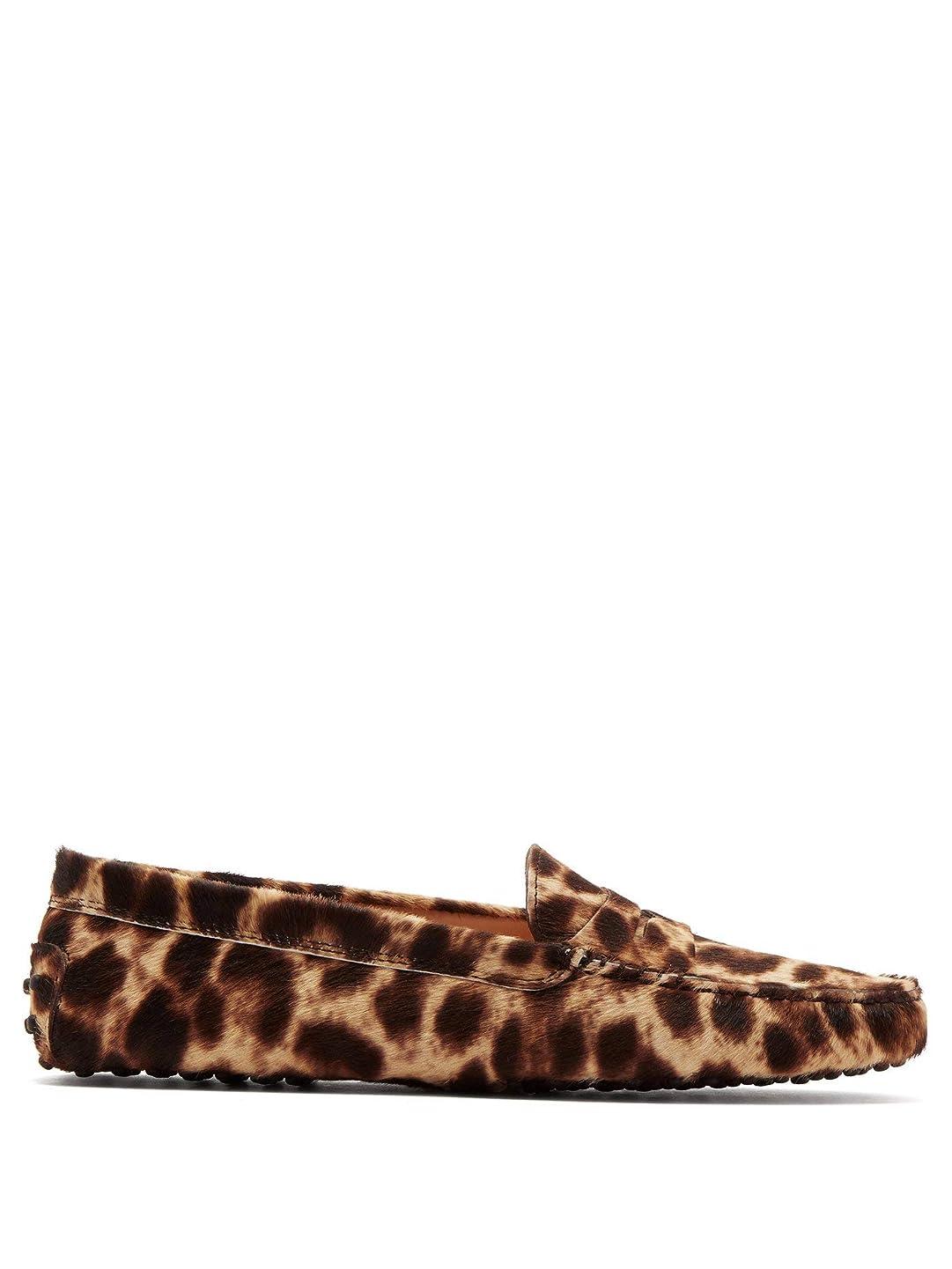 ティーム報酬の保険をかける[トッズ] 高ミノーレオパードプリントローファー Gommino leopard-print loafers レディース (並行輸入品)