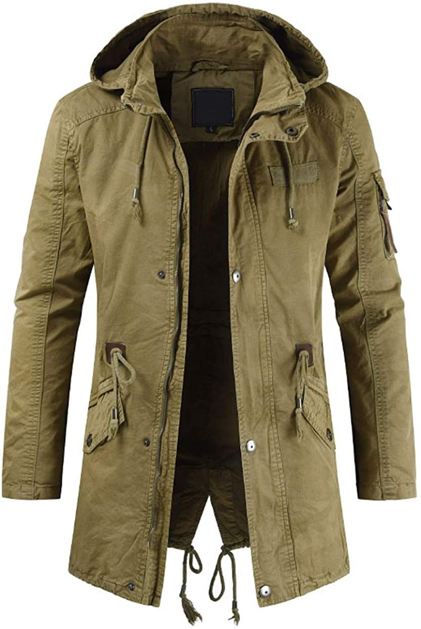 chouyatou Men's Spring Military Cotton Full-Zip Hooded Removable In a popularity New product! New type