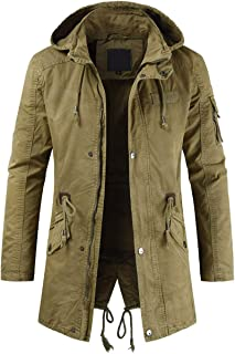 Men's Spring Military Full-Zip Removable Hooded Cotton Mid-Long Parka Jacket Coat