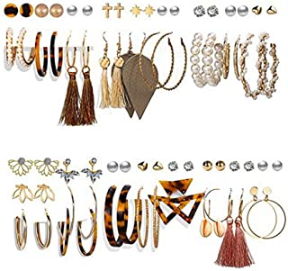 Queta - Set di orecchini a perno, in lega acrilica, con nappina, per ragazze e donne, vari colori