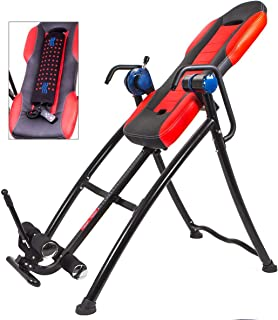330lb Heated Massage Inversion Table Fitness Chiropractic Back Pain Ache Relief, Heavy Duty Deluxe Fitness Therapy Heat Gravity Adjustable Height, Foldable Easy Storage with Cushion - 51 x 31.5 x 60