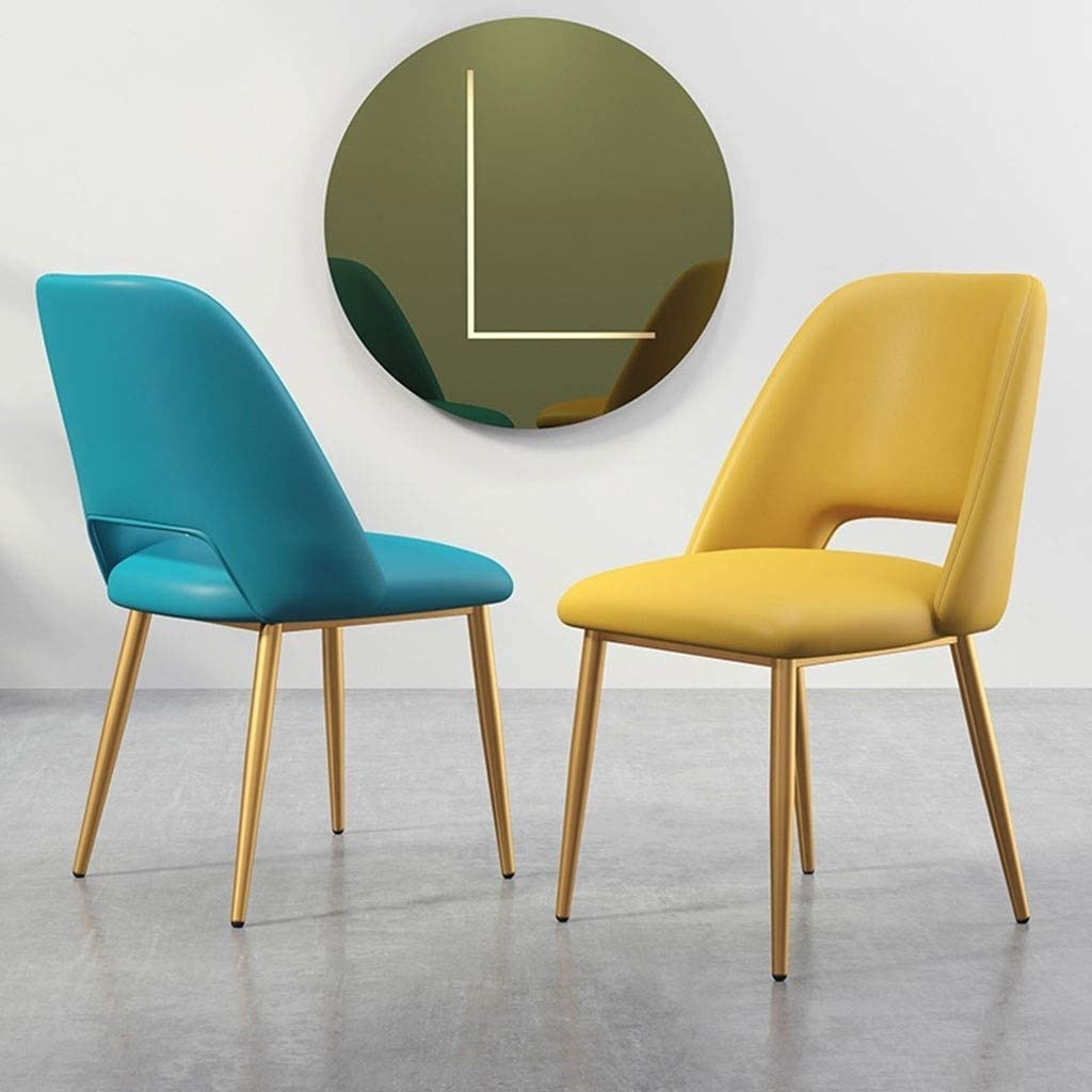 LSRRYD Moderne Cuisine d'accent Salon salle à manger Chaise rembourrée en PU club Invité de loisirs Salon Chaise de chambre avec pieds en métal (Color : Light blue) Yellow
