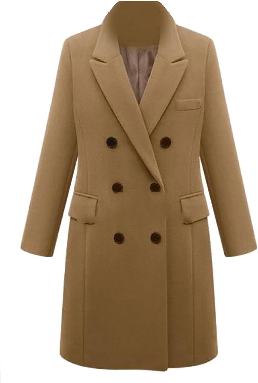 Ouxiuli Women's Basic Solid color DoubleBreasted Longsleeves Lapel Woolen Coat