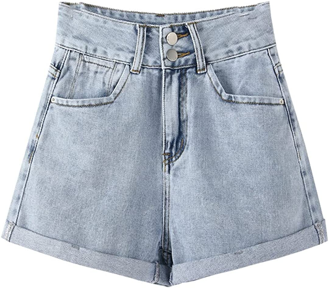 High Waist Denim Shorts for Women Summer 2021 Double Buttons Crimping Wide Leg Loose Short Jeans