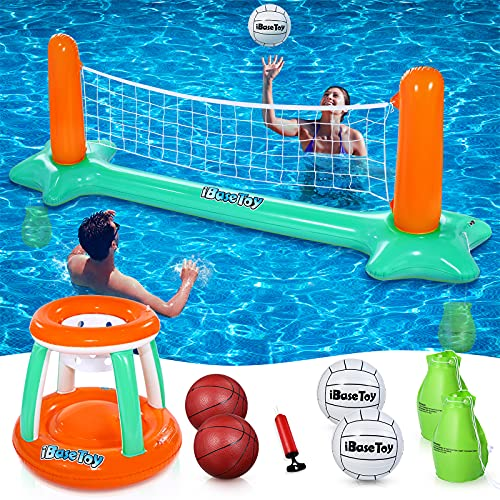 Inflatable Pool Volleyball Set & Basketball Hoop Now $15.69 (Was $36)