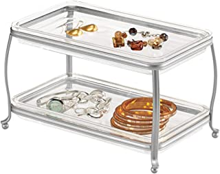 mDesign Decorative Makeup Storage Organizer Vanity Tray for Bathroom Counter Tops, 2 Levels to Hold Makeup Brushes, Eyeshadow Palettes, Lipstick, Perfume and Jewelry - Chrome/Clear