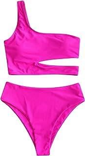 Bikinis Mujer Brasileños Sexy Un Hombro Bañadores Natacion 2021 Verano Llanura Colores Playa Top y Tanga de Cintura Alta T...