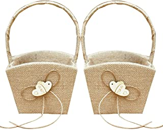 GuiHe 2PCS Burlap Double Heart Wedding Flower Girl Basket Bowknot Vintage Rustic Wedding Ceremony