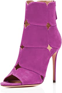 Women Stiletto Booties Peep Toe Cutout Ankle Boots High Heels Party Club Dress Shoes
