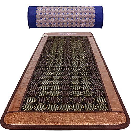 GemsMat - Henri- Far Infrared 12 Amethyst, 90 Jade, 64 Tourmaline Bead Heat Stone Mat (72'L x 24'W) -Capri 100% Amethyst Blue Pillow Combo - FIR Therapy -FDA Registered Manufacturer - Heating Pad