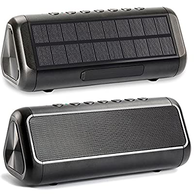 Friengood Solar Bluetooth Speaker 12W, IPX5 Waterproof Portable Wireless Speaker with 50+ Hours Playtime, Bluetooth 4.2 Speaker Built-in 5000mAh Power Bank for Indoor & Outdoor Activities-Black from DongGuan Xiangneng Electronic Technology Co., Ltd.