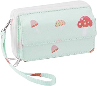 Women's Double Zipper Clutch Wallet Cute Card Holder Ladies Purse with Wristlets and ID Window